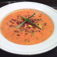 Fire Roasted Tomato Bisque with Avocado and Crumbled Bacon #Paleo