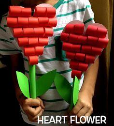 heart flower - valentines crafts for kids - heart flower heart flower Valentine Crafts For Kids, Valentines Design, Valentines Flowers, Mothers Day Crafts For Kids, Valentines Gifts For Boyfriend, Saint Valentine, Valentine Day Crafts, Toddler Crafts, Preschool Crafts