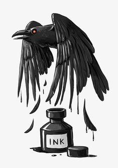 Tinta Crow, Pintado A Mano De Cuervo, Cartoon Crow, Acuarela Crow Imagen PNG