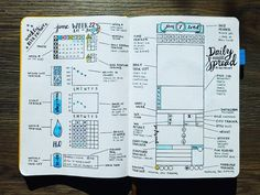NEW Bullet Journal Setup - Weekly and Daily Spread Blueprints Here are the explanations to my spreads! The page on the left shows my Weekly Spread, and the one of the right describes the 12,875 boxes in my Daily Spread. Hope this helps you!