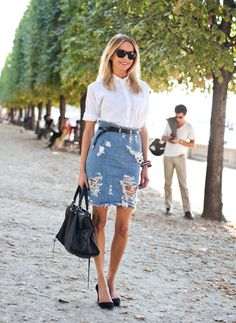 We can't get enough of this distressed denim pencil skirt look