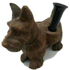 Vintage SCOTTISH TERRIER Scotty Dog Burwood Pen or Pencil Holder Figurine Syroco Pencil Holder, Pen Holders, Writing Pens, Scottish Terrier, Scottie Dog, Desk Accessories, Office Desk, Bookends, Dogs