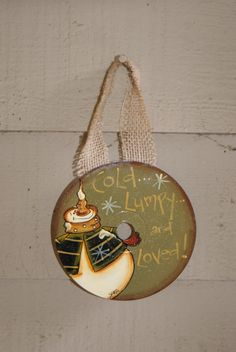 Hand Painted Country Snowman CD Ornament by Ramshackles on Etsy, $9.25