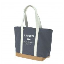 Sac LACOSTE SMALL SHOPPING BAG anthracite light gray face