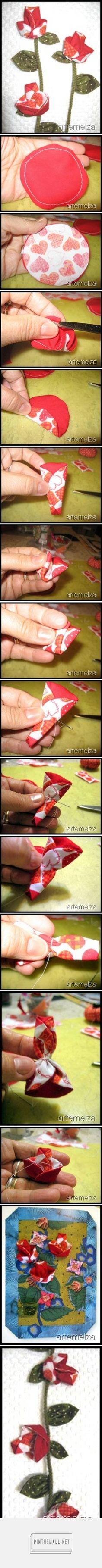 ARTEMELZA - Arte e Artesanato: Flor de fuxico série origami – passo a passo | Origami series yo-yo flower... - a grouped images picture - Pin Them All