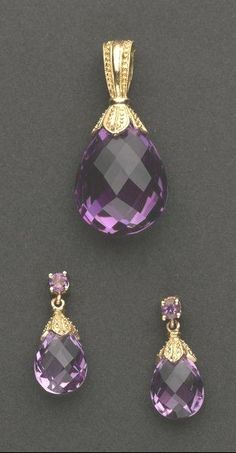 Briolette-cut Amethyst Pendant & Earrings in 14k Gold, total weight is 8.3 grams, pendant is 33 mm x 17 mm, earrings are 20 mm drops with straight back posts .