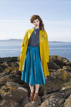 Stephanie Davidson's Masters fashion + textile collection featured in a photoshoot located in Portencross, North Ayrshire, Scotland. Screen Print   Embroidery Hand   Dyed Fabric   Glasgow School of Art