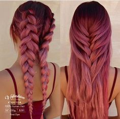 ombre tape in hair extensions - Ombre Hair Hair Goals Color, Hair Color Pink, Hair Dye Colors, Cool Hair Color, Dusty Pink Hair, Hair Color Ideas, Dark Pink Hair, Creative Hair Color, Purple Hair