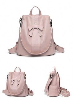 3c7831ffb726 Elegant Pink Bow-knot Soft Leather Student Multi-function Shoulder Bag  Backpack Men s Backpack