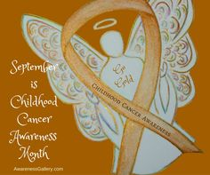 September is Pediatric Cancer Awareness Month -Gold Awareness Ribbon Angel