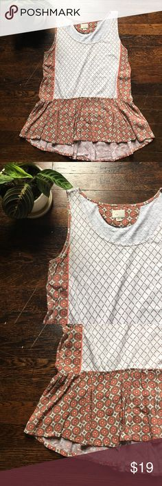 Anthropologie Peplum Tank Pretty tank by Postage Stamp from Anthropologie. Size M. Good used condition. Please feel free to ask questions  Anthropologie Tops