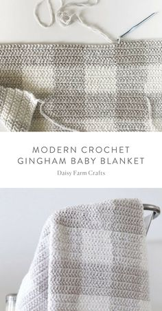 Free Pattern - Modern Crochet Gingham Baby Blanket Knit blankets are one of our favorite weaves that we see in our grandparents. with knitted blankets that have a nostalgic air, you can tra Crochet Baby Blanket Tutorial, Modern Crochet Blanket, Crochet Baby Blanket Beginner, Free Baby Blanket Patterns, Crochet Blanket Patterns, Baby Knitting, Baby Patterns, Modern Crochet Patterns, Easy Knitting Patterns