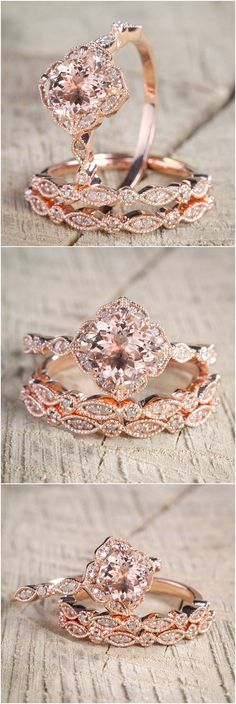 2.25 carat Morganite and Diamond Trio Wedding Bridal Ring Set in 10k Rose Gold with Engagement Ring and 2 Wedding Bands