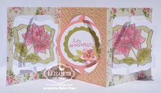 Fancy Flower Labels Accordion Card