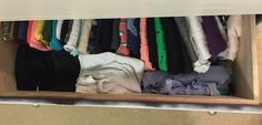 Dresser drawer organization, organizing your clothes in your dresser. All the non hangables that aren't lazy clothes or jammies (including some shirts prefer not to hang) like undershirts and tank tops. Fold in fourths and stack sideways. Can organize by color or fanciness or type of top. Space enough in front for fabrics that fold fold and stand well (crocheted, silky, etc.). No more mess! Every item is finally visible!