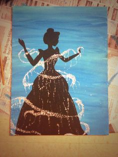 Redid a painting of this that I saw Cinderella DIY College Disney Canvas