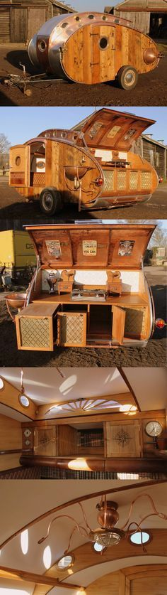 Steampunk teardrop trailer created by Dave & Rosie Moult. This is wonderful. Take a look at the Buster Crabbe rocket style and the copious use of copper, then take a look at all the detail - that kitchen is fab. What a great project!