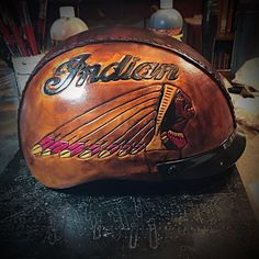 Custom leather covered helmet, send me your helmet and I'll cover it, option. Leather Motorcycle Helmet, Motorcycle Patches, Motorcycle Outfit, Motorcycle Helmets, Indian Motorcycle Apparel, Motorcycle Events, Helmet Covers, Rockabilly Cars, Custom Helmets