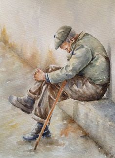 Original watercolor figurative painting of an old man title: 'In thought' , art for man,original art , old people in art,watercolor art