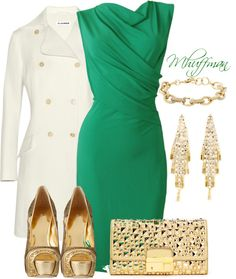 """""""Green and Gold"""" by mhuffman1282 on Polyvore. The gold shoes and the gold purse may be a bit much. But everything else looks like a dream :)"""