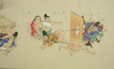 "Amazing Images of Classic Japanese Fart Battles | Mental Floss     From Japan's Edo Period (1603-1868), there's He-Gassen, or, ""the fart war."" This centuries-old scroll, dated to approximately the 1840s, depicts an epic battle of gas between booty-baring men and women on horseback and on foot. Even a cat gets caught up in the fray at one point. The powerful gusts of human wind depicted can break through boards and traverse wide battlefields."