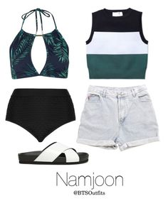 """""""Water Park with Namjoon"""" by btsoutfits ❤ liked on Polyvore featuring Levi's, Steve Madden, Topshop, Cactus and A.L.C."""