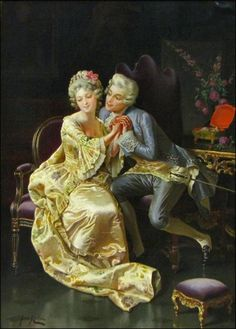 Ch 26.15 Sitting in her pocket - sitting extremely close, used to sneer at or remonstrate with courting couples. 806183: PIO RICCI (ITALIAN 1850-1919) COURTING COUPLE.