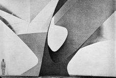 Eero Saarinen - A drawing, a column study, part of the design work for the Trans World Airlines Terminal, in New York, circa 1956.