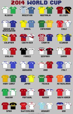 2014 World cup http://alcreed.tumblr.com/post/87026933174/8-bit-fifa-world-cup-2014-buy-this-drawing-as-a
