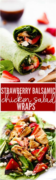 Strawberry Balsamic Chicken Salad Wrap Fresh Spring greens strawberries crunchy pecans chicken and feta cheese come together in this delicious and healthy wrap. It is drizzled in balsamic dressing and the flavor is amazing! Healthy Wraps, Healthy Snacks, Healthy Eating, Healthy Recipes, Paninis, Lunch Recipes, Cooking Recipes, Salad Recipes, Lunch Wraps