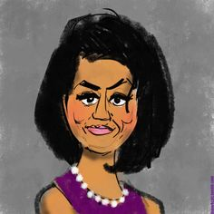 Michelle Obama | 31 Spectacularly Quirky Animated Celeb Caricatures