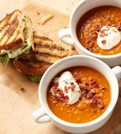 Smoky Lentil Soup with Gruyere Grilled Cheese Sandwiches