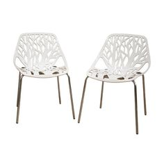 I WANT!!!  Pairing nature-inspired style with contemporary appeal, this chic side chair showcases a metal seat with a tree-inspired cutout design.     ...