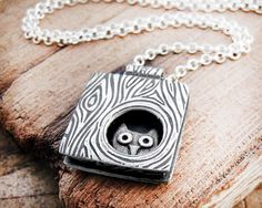 Owl necklace silver  Whimsical owl in a tree  by lulubugjewelry, $98.00. Neat looking!