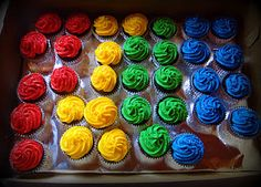 Cupcakes in Primary Colors