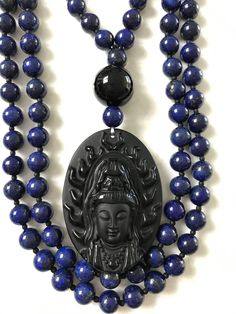Lapis Lazuli and Obsidian Mala/Prayer Beads by ManiMantraMala on Etsy