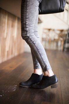 Gray Skinnies with Black Booties