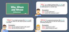 Esta es una pequeña ayuda para entender el uso de: Who, Whom & Whose.
