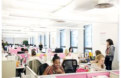 The colorful offices of Birchbox - love the happy take on cubicles!