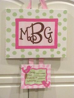 CUSTOM BIRTH ANNOUNCEMENT - /hospital door hanger