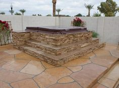 above ground hot tubs designed to look in ground | Above Ground Spa Surround Questions
