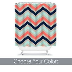 Shower Curtain CUSTOM You Choose Colors Coral Navy Aqua Beige Chevron Pattern Bathroom Bath Polyester Made in the USA