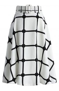 Sway the Plaids Belted Midi Skirt in White - Retro, Indie and Unique Fashion