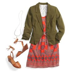 An olive green blazer adds instant polish to a colorful printed sundress. Keep your accessories simple with a long beaded necklace and top the look off with an on-trend lace up wedge sandal.