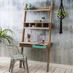 Check out these adorable mango wood storage furniture pieces including three different sized chest of drawers, bedside cabinet, media unit and ladder desk, Ladder Shelf Desk, Desk Shelves, Hanging Shelves, Home Desk, Home Office Furniture, Furniture Design, Sofa Workshop, Ideas Prácticas, Desk Ideas