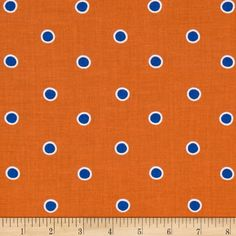 Fox Playground Dots Orange from @fabricdotcom  Designed by Dena Designs for Free Spirit, this cotton print is perfect for quilting, apparel and home decor accents.  Colors include white, blue and orange.