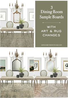 Are you looking for some design ideas for your dining room? I have sample boards showcasing different rugs and artwork in the same room. Narrow Living Room, Dining Room Design, Dining Rooms, Floor Layout, Country Style Homes, French Country Decorating, Fashion Room, Sample Boards, Room Inspiration