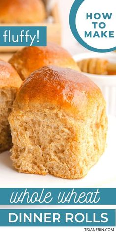 These soft and fluffy dinner rolls are whole grain and stay softer than most white rolls for several days! Dinner Rolls Easy, Fluffy Dinner Rolls, Homemade Dinner Rolls, Dinner Rolls Recipe, Easy Dinner Recipes, Whole Wheat Bun Recipe, Whole Wheat Rolls, Vegan Bread, Bread Bun