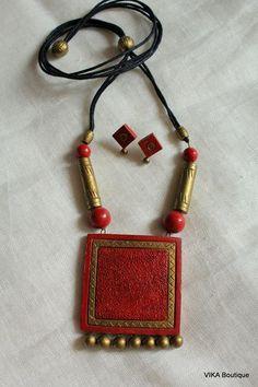 #Terracotta Funky Jewelry, Fabric Jewelry, Jewelry Art, Beaded Jewelry, Fashion Jewelry, Ceramic Jewelry, Polymer Clay Jewelry, Quilling Jewelry, Handmade Jewelry Designs