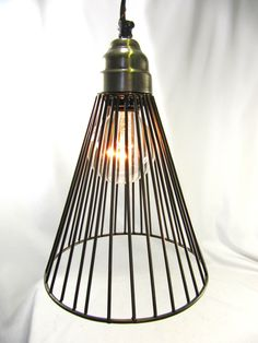 Hanging Pendant  Light Chandelier Pewter Finish Wire Cage Industrial. $45.00, via Etsy.
